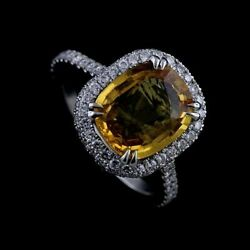 Cut Down Micro Pave Diamonds Double Row Halo Modern Platinum Engagement Ring