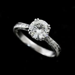 Wheat Style Hand Engraved Double Prongs Round Forever One Moissanite Ring