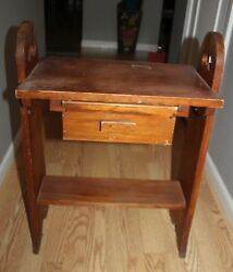 Vintage Handcrafted Wood Living Room Double Side Drawer Smoking End Table