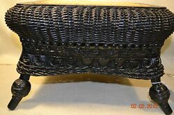 Rare Antique Wicker Seat Stick And Ball Cane Footstool Excellent  801112
