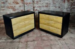 Hollywood Regency Ebonized Bachelorand039s Chests Commodes-a Pair