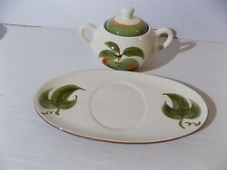 Stangl Orchard Song China Sugar Bowl And Plate Durafired 1960s
