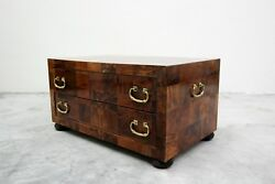 Vintage Patchwork Burl And Brass 2 Drawer Chest Cabinet