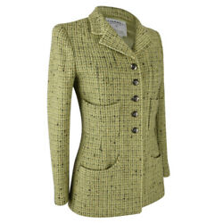 97a Jacket Fresh Spring Green Tweed Divine Buttons 34 / 4 Mint
