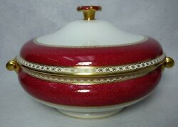 Wedgwood China Ulander Ruby W1813 Round Covered Vegetable Serving Bowl And Lid