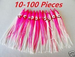 10-100 Pcs 4.75 Hoochies Squid Skirts Pink/white Fishing Lures Select Pieces