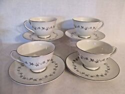 Royal Doulton Cadence Footed Cups And Saucers Platinum Trim And Gray Leaves Tc1007