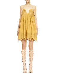 Pre- Owned 100 Auth Yellow Embroidered Camisole Dress In Size Fr 38