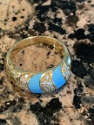 And Co Diamond Turquoise 750 18k Yellow Gold Band Ring Rare Vintage 1960s