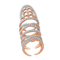 Natural Pave Diamond Full Finger Ring 18kt Rose Gold Womenand039s Designer Jewelry