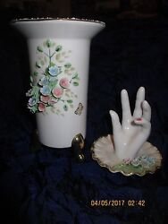 Lefton Hand Painted China Japan Pink Flower Vase And Hand Ring Trinket Dish Tray