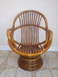 Rare Mid Century Vintage Small Rattan Swivel Toddler Child's Chair
