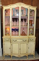 Painted Antique White American Louis Xv Style Glass Door China Cabinet / Buffet