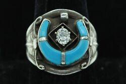 Vintage Ca. 1978 Sterling Silver 1/2ct Oval Diamond Turquoise Ring Size 10.5