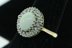 Antique Lovable Ca. 1938 14k Yellow Gold Opal W/ Diamond Halo Ring Size 6.25