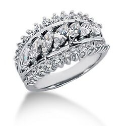 2.35 Carats Womenand039s Round And Marquees Cut Diamond Band Ring In 14k White Gold