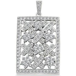 1.70 Carats Womenand039s Round Cut Diamond Pave Square Pendant In 14k White Gold