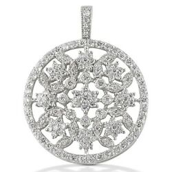 1.90 Carats Tw Womenand039s Diamond Pendant In 14k White Gold