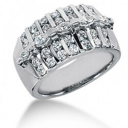 1.97 Carat Marquise And Round Brilliant Diamond Anniversary Ring In 14k White Gold
