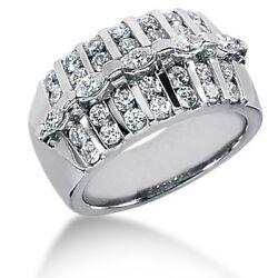 2.00 Carats Tw Womenand039s Round And Marquee Cut Diamond Anniversary Ring 14k Gold