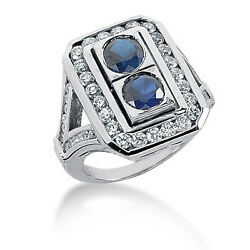 1.55 Carat Womenand039s Diamond And Sapphire Fancy Color Stone Ring 14k White Gold