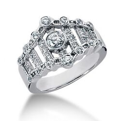 1.00 Carat Certified Womenand039s Round Cut Diamond Right Hand Ring 14k White Gold