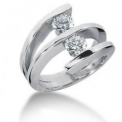 1.02 Carats Tw F/vs Womenand039s Round Cut Diamond Cocktail Ring In 14k White Gold