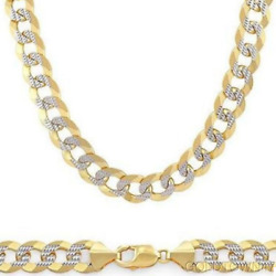 Menand039s Necklace In 14kt Gold Yellow+white Pave Curb With Lobster Clasp
