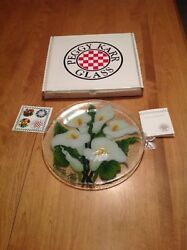Peggy Karr Glass 11 Calla Lily Plate Limited Edition W/ Coa And Box