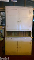 Late 1800's Step Back Cupboard 7' 8 Hutch Architectural Salvage Doors And Drawers