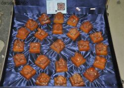 24old Chinese Tianhuang Stone Carved 25 Beast Turtle Emperor Seal Stamp Box Set