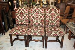Set Of 6 French Oak Louis Xiv Upholstered Antique Chairs White, Red And Green