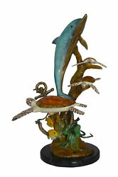 Dolphin Medium With Turtles Fountain Bronze Statue - Size 24l X 34w X 36h.