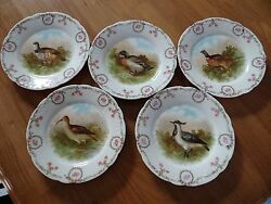 Z.s. And Co Bavaria Zeh Bird Plates Set Of 5 Fowl 7 1/2 Decorative