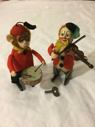 Antique Toys Made In Germany By Schuco- Clown With Violin And Monkey With Drum