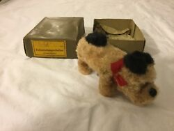 Antique Toy Made In German Furry Dog With Wind -up Key From The 1940s