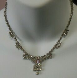 Vintage Estate High End Prong Set Rhinestone Evening Bridal Necklace
