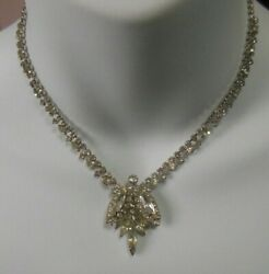 Vintage High End Estate Prong Set Rhinestone Evening Bridal Necklace