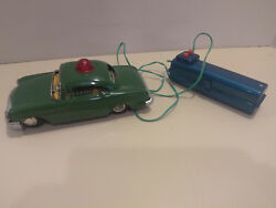 Vintage 1950s Battery Operated Police Tin Metal Car Toy With Remote By Line Mar