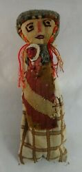 """Peruvian Pre-columbian Doll, C. 1400's Cloth. Woman With Baby. Approx. 11"""""""