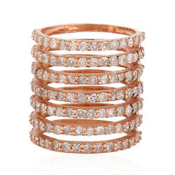 1.62 Ct Pave Diamond 18kt Solid Rose Gold Handmade Spiral Midi Ring Gift Jewelry