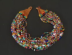 1970s Zulu South African Ceremonial Multicolour Beaded Necklace 60cm/23andrdquo 121