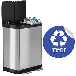 iTouchless SoftStep 16 Gallon Step Trash CanRecycle Bin – 61 Liter – Stainles