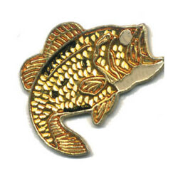 Wholesale Lot Of 12 Gold Fish Wide Mouth Lapel Hat Pins Tie Tac Fast Usa Ship