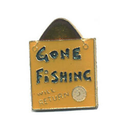Wholesale Lot Of 12 Gone Fishing Will Return Lapel Hat Pins Tie Tac Fast Ship