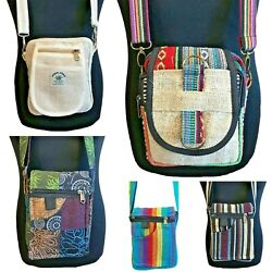 Hippy Boho Shoulder Passport Bag, Fully Lined, Lots of Pockets, Made in Nepal