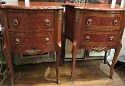 RARE PAIR FRENCH MAHAGONY BRONZE ORMOLU END SIDE TABLES WITH PARQUETRY INLAID