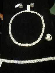 BRIDAL PACKAGE! LAST SET!$175K DIAMOND NECKLACE EARRING RING TENNIS BRACELET SET