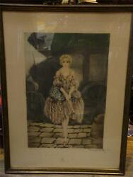 EARLY RARE 1917 LTD ED SIGNED LOUIS ICART WOMAN LADY POSING WITH DRESS PARIS!!!!