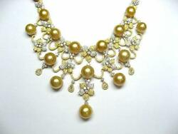 LAST CALL! $75K 18KT GOLD LARGE AA-AAA SOUTH SEA GOLD PEARL DIAMOND NECKLACE